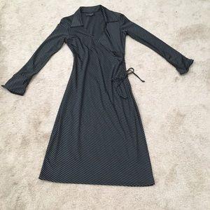 Ardent B vertical stripe faux wrap dress cinched